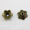 """Шапочка для бусины """"6 лепестков"""" (цвет - античная бронза) 10х3 мм, 10 штук"""