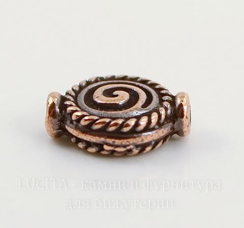 "Бусина TierraCast ""Спираль"" 12х9 мм (цвет-античная медь)"
