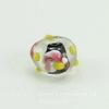 Бусина Лэмпворк рондель, прозрачная с цветочками 14х9 мм ()