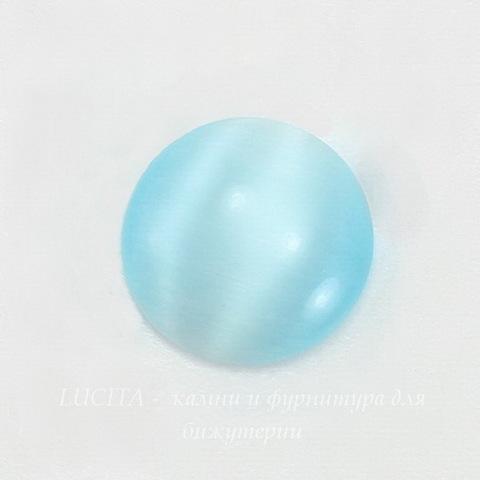 Кабошон круглый Кошачий глаз голубой, 16 мм ()