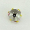 Бусина Лэмпворк рондель, прозрачная с цветочками 14х9 мм