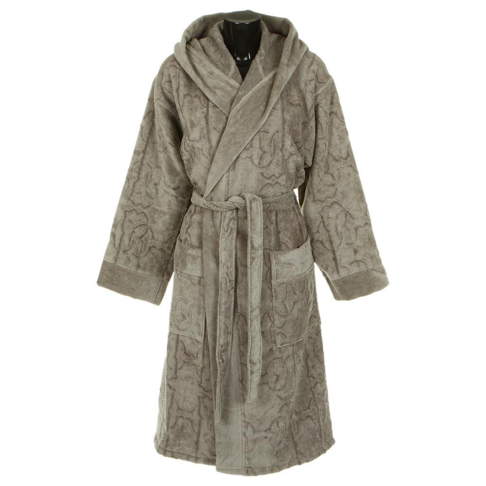 Элитный халат велюровый Logo с капюшоном серый от Roberto Cavalli
