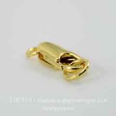 Замок - карабин 18х6 мм (цвет - золото) с колечком