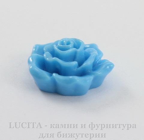 """Кабошон акриловый """"Роза"""", цвет - голубой, 16 мм"""