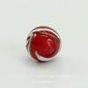 Бусина Лэмпворк шарик красно-белый 15-16 мм