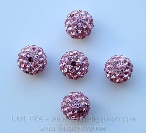 Бусина для шамбалы с фианитами, цвет - розовый, 10 мм