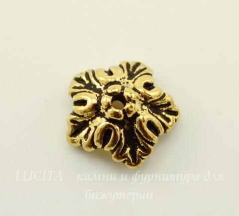 """Шапочка для бусины TierraCast """"Дубовый лист"""" (цвет-античное золото) 10х4 мм"""