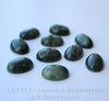 Кабошон овальный Агат Моховой (цвет - темно-зелено-голубой) 18х13х6 мм №4