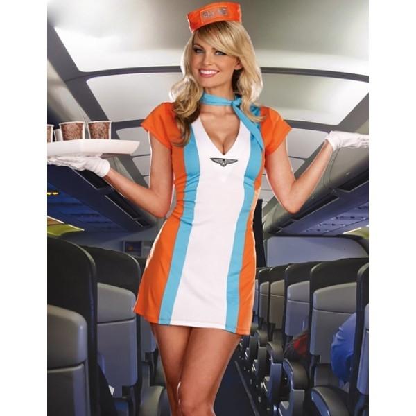стюардесса в белых чулках