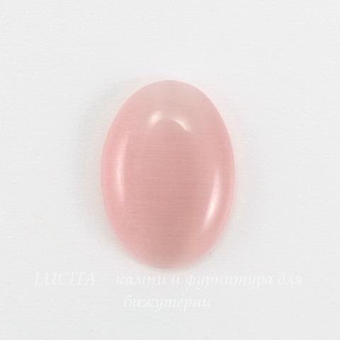 Кабошон овальный Кошачий глаз розовый, 14х10 мм ()