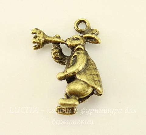 """Подвеска """"Кролик"""" (цвет - античная бронза) 20х15 мм"""