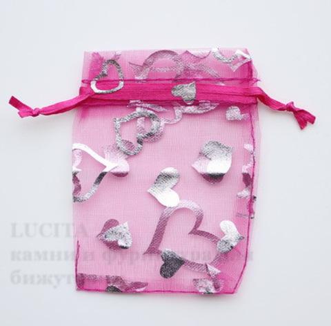 """Подарочный мешочек из органзы """"Сердечки"""", цвет - фуксия с серебряным, 9х7 см ()"""