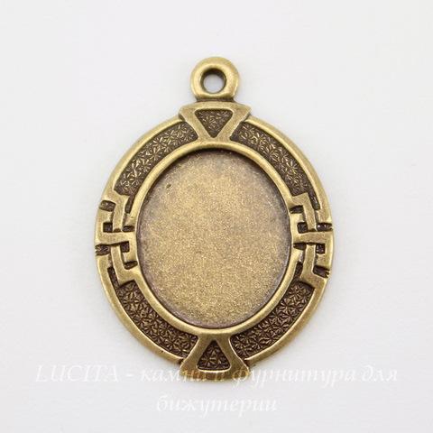 """Сеттинг - основа - подвеска """"Египет"""" для камеи или кабошона 10х8 мм (оксид латуни)"""
