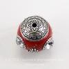 """Бусина """"Индонезийская"""" ручной работы красная с прозрачными стразами, 18 мм"""