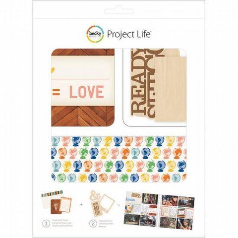 Kit набор карточек и деревянных украшений для Project Life