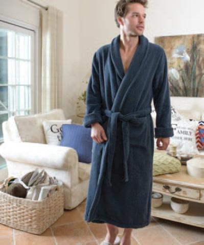Элитный халат махровый Chicago синий от Casual Avenue