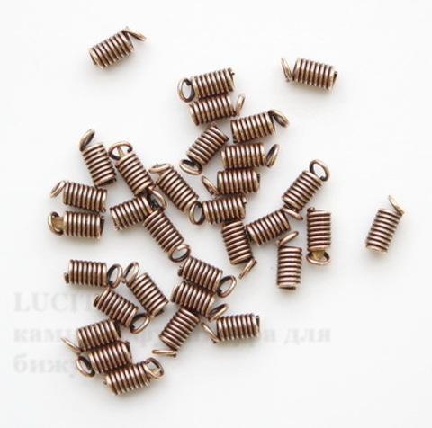 Пружинка для шнура (цвет - античная медь) 9х4 мм, 10 штук