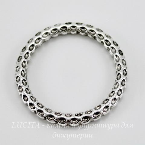 Коннектор - кольцо с узором 35 мм (цвет - античное серебро)