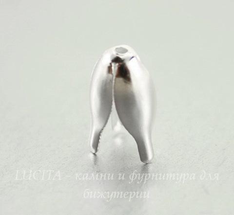 Шапочка для бусины в виде цветка (цвет - серебро) 13х8  мм, 10 штук