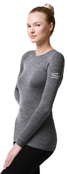 Женская термофутболка с длинным рукавом и круглым воротом серая Norveg Soft Shirt (14SW1RL-014) фото