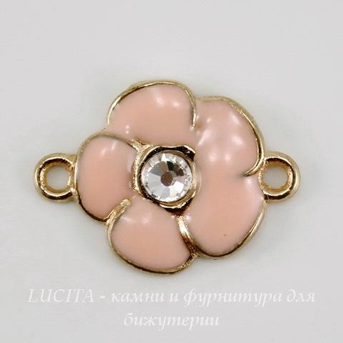 """Коннектор с эмалью """"Светло-розовый цветок"""" (1-1) со стразом 21х15 мм (цвет - золото)"""