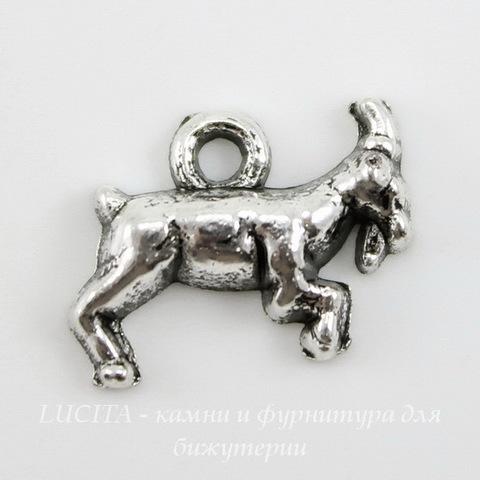 "Подвеска ""Коза"" (цвет - античное серебро) 14х11 мм"