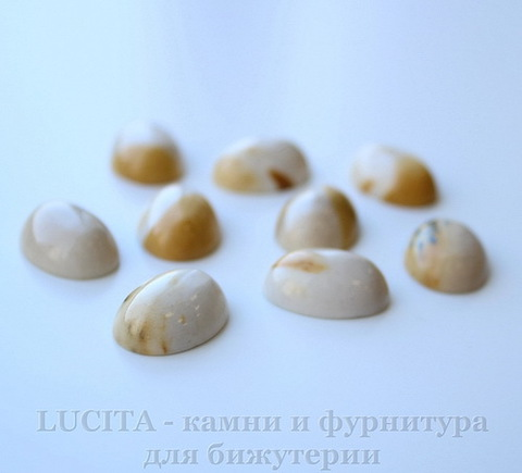 Кабошон овальный Яшма Мукаит ванильно-желтый, 18х13 мм №3