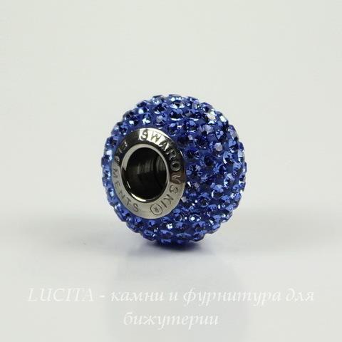 Бусина Сваровски BeCharmed Pave Sapphire 14х9 мм