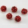Бусина для шамбалы со стразами, цвет - красный, 12 мм