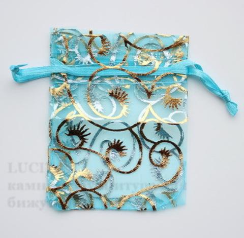 """Подарочный мешочек из органзы """"Золотые узоры"""" голубой, 9х7 см ()"""