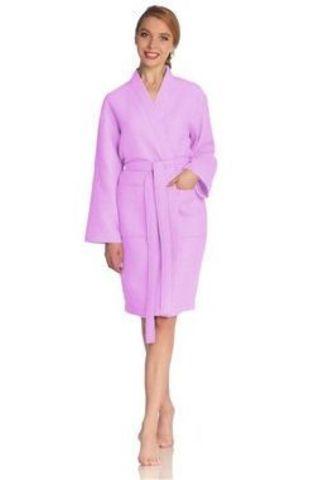 Элитный халат вафельный Rom светло-сиреневый от Vossen