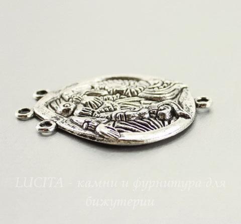"""Коннектор """"Народ Майя"""" (1-3) (цвет - античное серебро) 43х35 мм"""