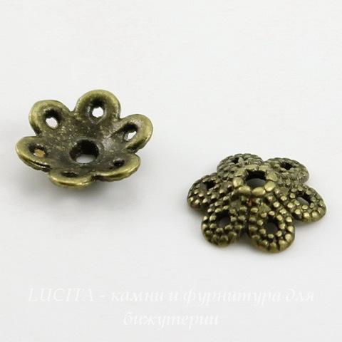 """Шапочка для бусины """"Цветок 6 лепестков"""" (цвет - античная бронза) 10х3 мм, 10 штук"""