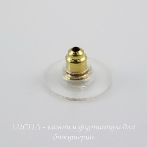 Зажим для пуссет-гвоздиков с прозрачной площадкой 11х6 мм (цвет - золото), 5 пар