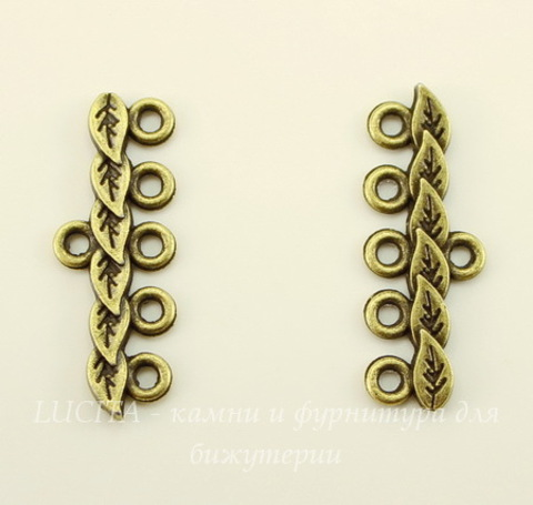 "Коннектор ""Листья"" (1-5) 28х10 мм (цвет - античная бронза), ПАРА"