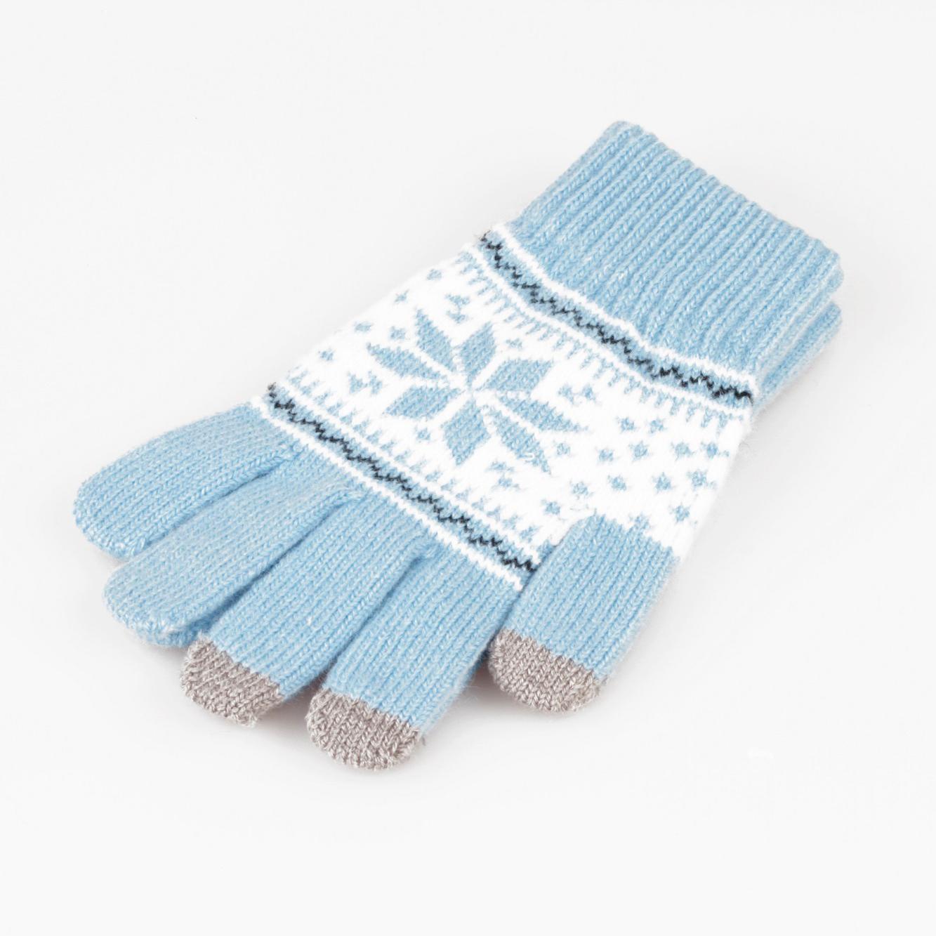 Перчатки для сенсорных экранов (Со снежинкой / Коричневый)