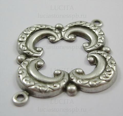 Винтажный декоративный элемент - коннектор (1-1) 39х31 мм (оксид серебра)