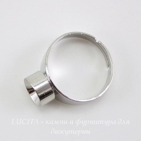 Основа для кольца с сеттингом для страза 8 мм (цвет - платина)