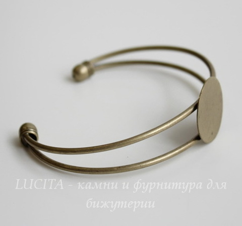 Основа для браслета с площадкой 25 мм (цвет - античная бронза) 67х55х25 мм