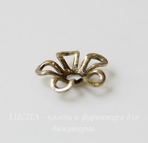 """Шапочка для бусины """"Цветочек"""" (цвет - античная бронза) 9х2 мм, 10 штук"""