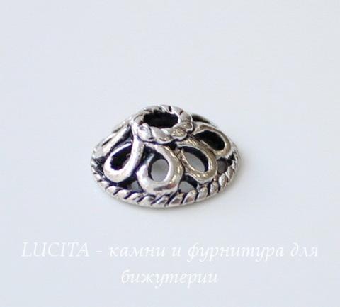 Шапочка для бусины (цвет - античное серебро) 10х4 мм, 10 штук