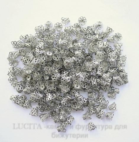 Шапочка для бусины филигранная (цвет - античное серебро) 9х7 мм, 20 штук (Картинка)