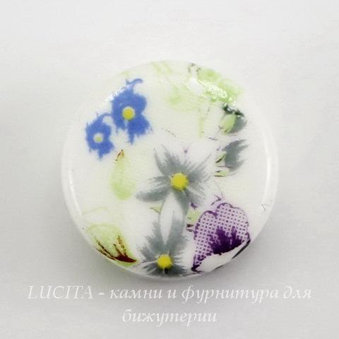 """Бусина фарфоровая круглая плоская """"Цветы"""", цвет - белый, 16х9 мм"""