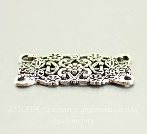 """Коннектор """"Цветы"""" (2-2) 31х16 мм (цвет - античное серебро)"""