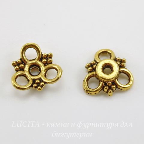 """Шапочка для бусины """"Три петельки"""" 10х3 мм (цвет - античное золото), 10 штук"""