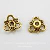"""Шапочка для бусины """"Три петельки"""" (цвет - античное золото) 10х3 мм, 10 штук"""