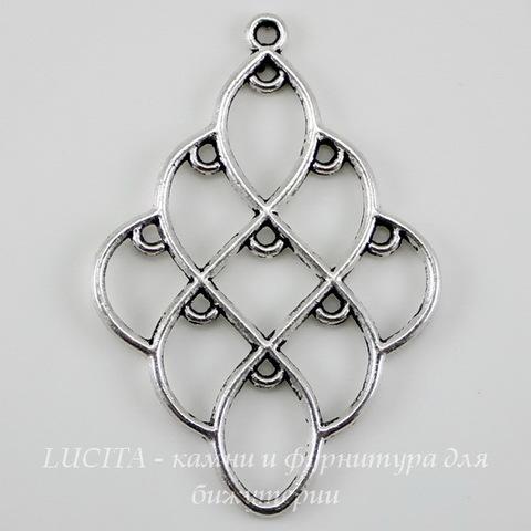 """Коннектор (1-9) """"Ромб"""" (цвет - античное серебро) 51х35 мм"""