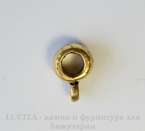 Бейл гладкий (цвет - античное золото) 8,5х4 мм, 5 штук
