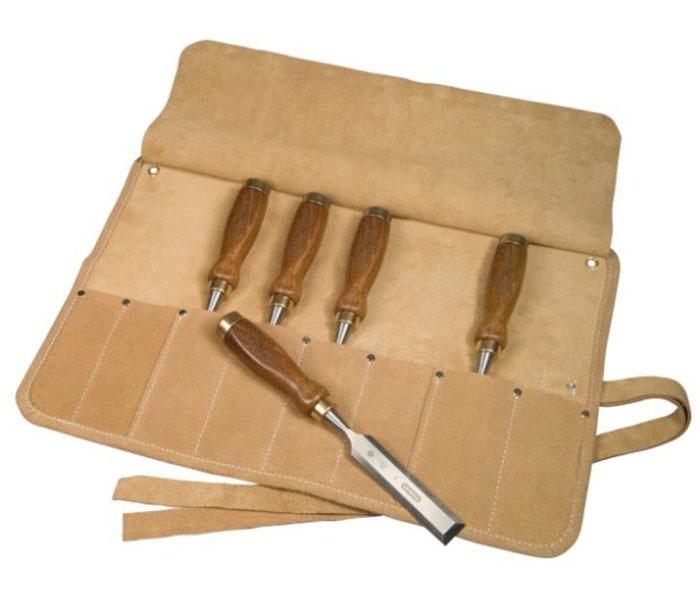 """Набор из 5-ти стамесок Stanley """"Bailey™"""" с деревянной рукояткой в кожаном чехле-скрутке 1-16-503"""