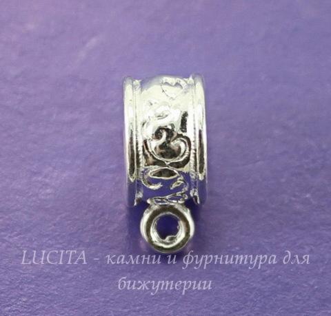 Бейл с цветочным узором 13х9х6 мм (цвет - серебро), 5 штук
